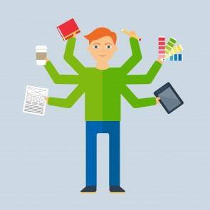 Multitasking character: designer. Flat style, vector illustratio