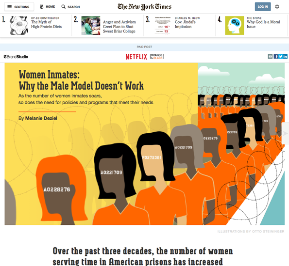 Native advertising bij de New York Times, gesponsord door Netflix.