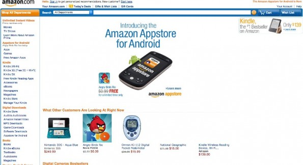 Amazon home page in 2011.