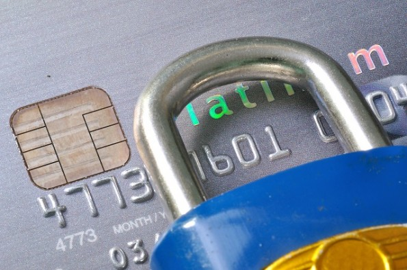 look through numbers on credit card by padlock