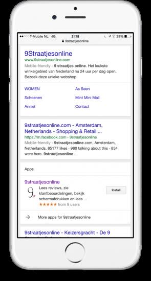 Google toont de app van 9 Straatjesonline direct in de SERP