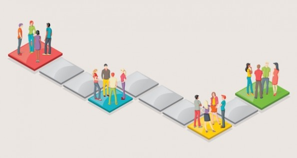 Board game with people over blocks