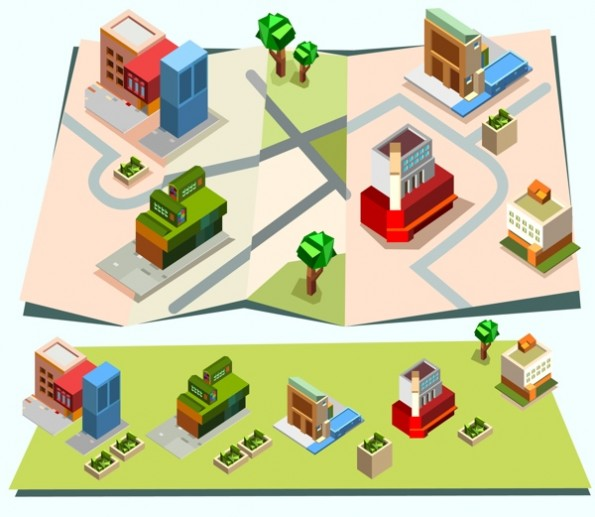 Isometric town map creation kit set