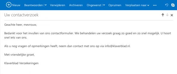 Figuur 2 email reactie Klaverblad