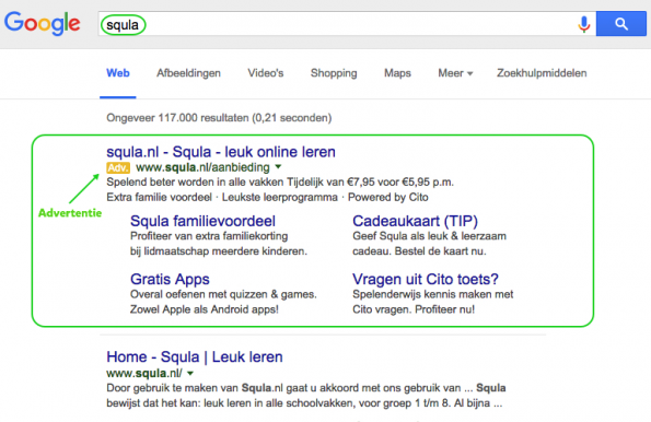 Google Adwords Squla advertentie