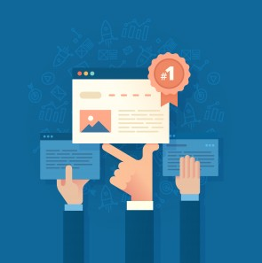 Modern flat style illustration of SEO concept of developing and improving website ranking so that it ranks highly on search engine result pages
