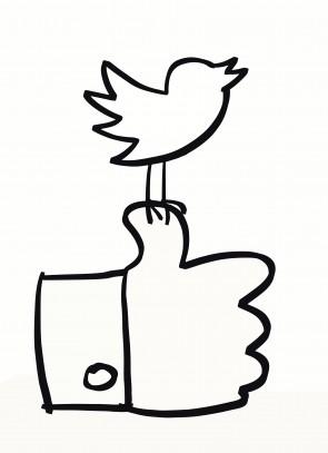 Hand drawn social media icons in black & white
