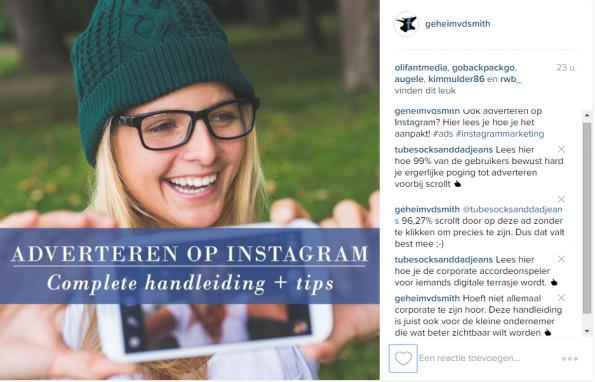 Instagram ad geheim van de smith
