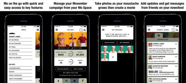 Movember: campagne platform op de mobiel