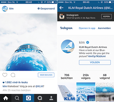 KLM Instagram follow advertentie