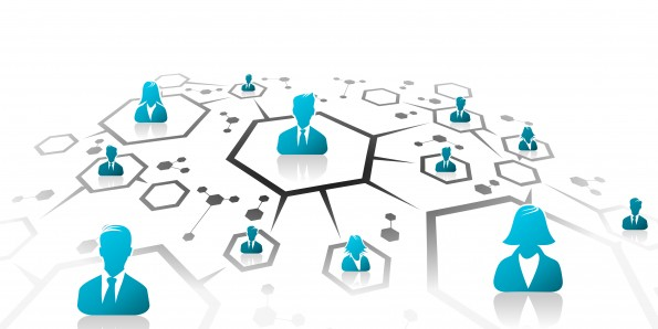 Abstract illustration of business network grid