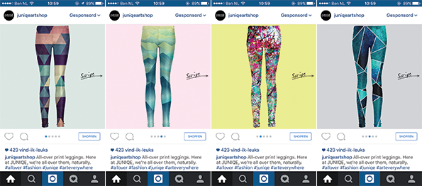 Junique Art Shop Instagram carousel ad