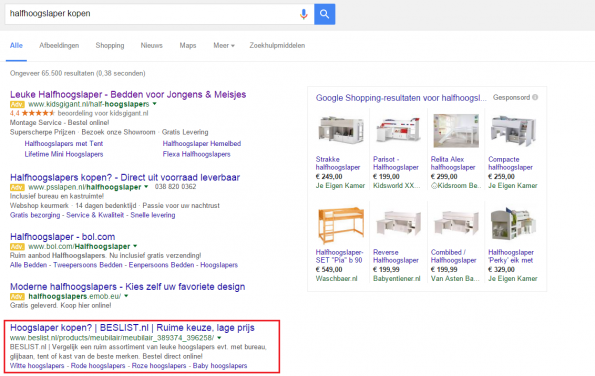 Google zoekresultaten adwords