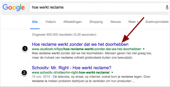 Hoe je hoger in Google komt door Neuromarketing - google nummer 1