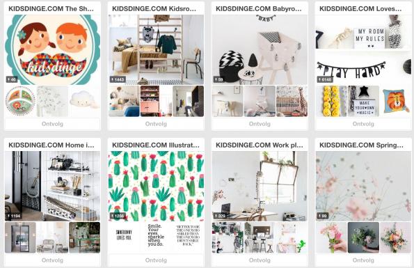 Kidsdinge.com pint vanuit een onderbuikgevoel. Alleen pins die echt passen bij de webshop krijgen een plek in de online etalage.