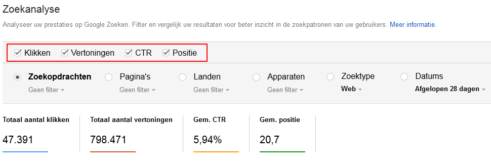 search console selecties
