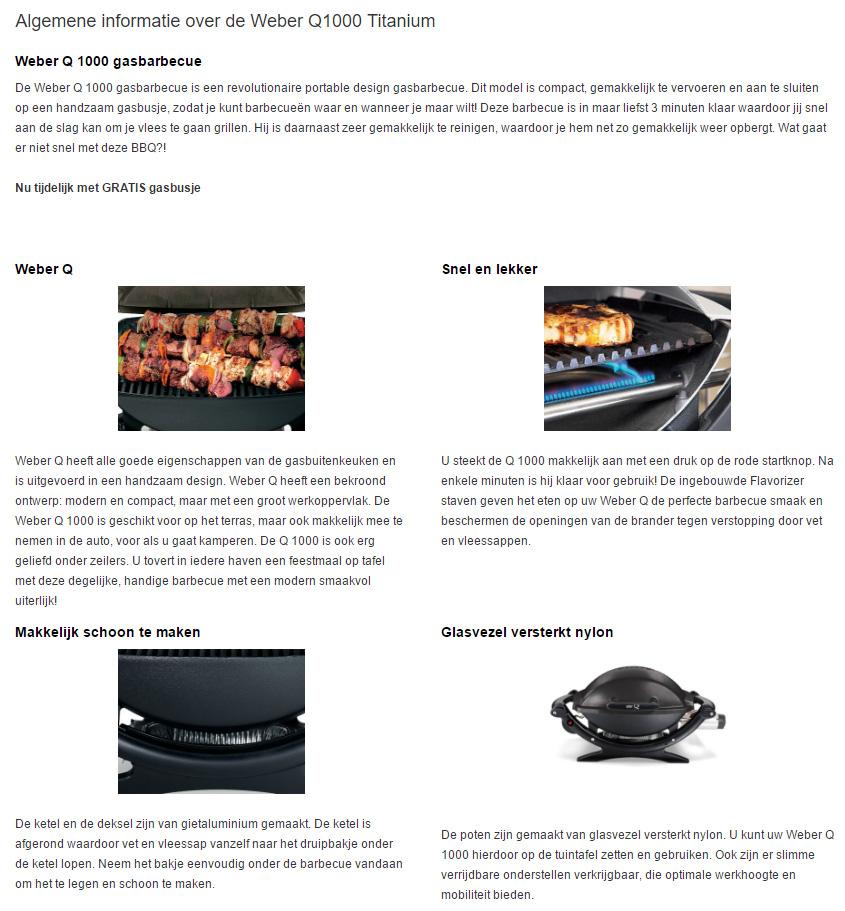 Barbecueshop productbeschrijving