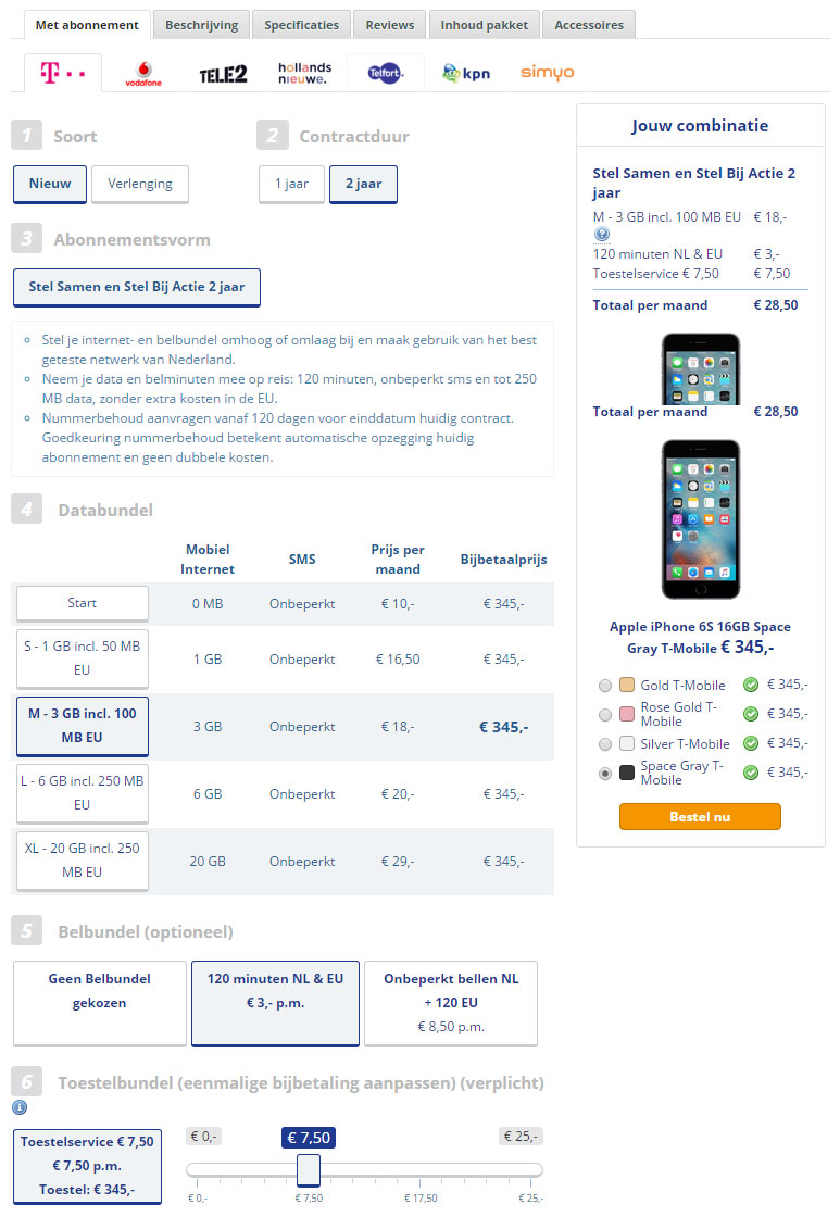 Mobiel standaard productconfiguratie
