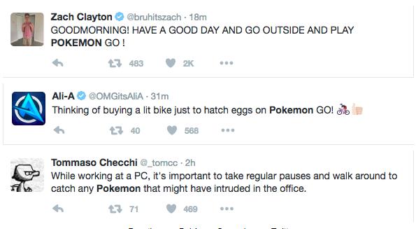 Reacties van Pokemon Go spelers op Twitter