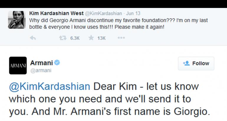 Armani tweet