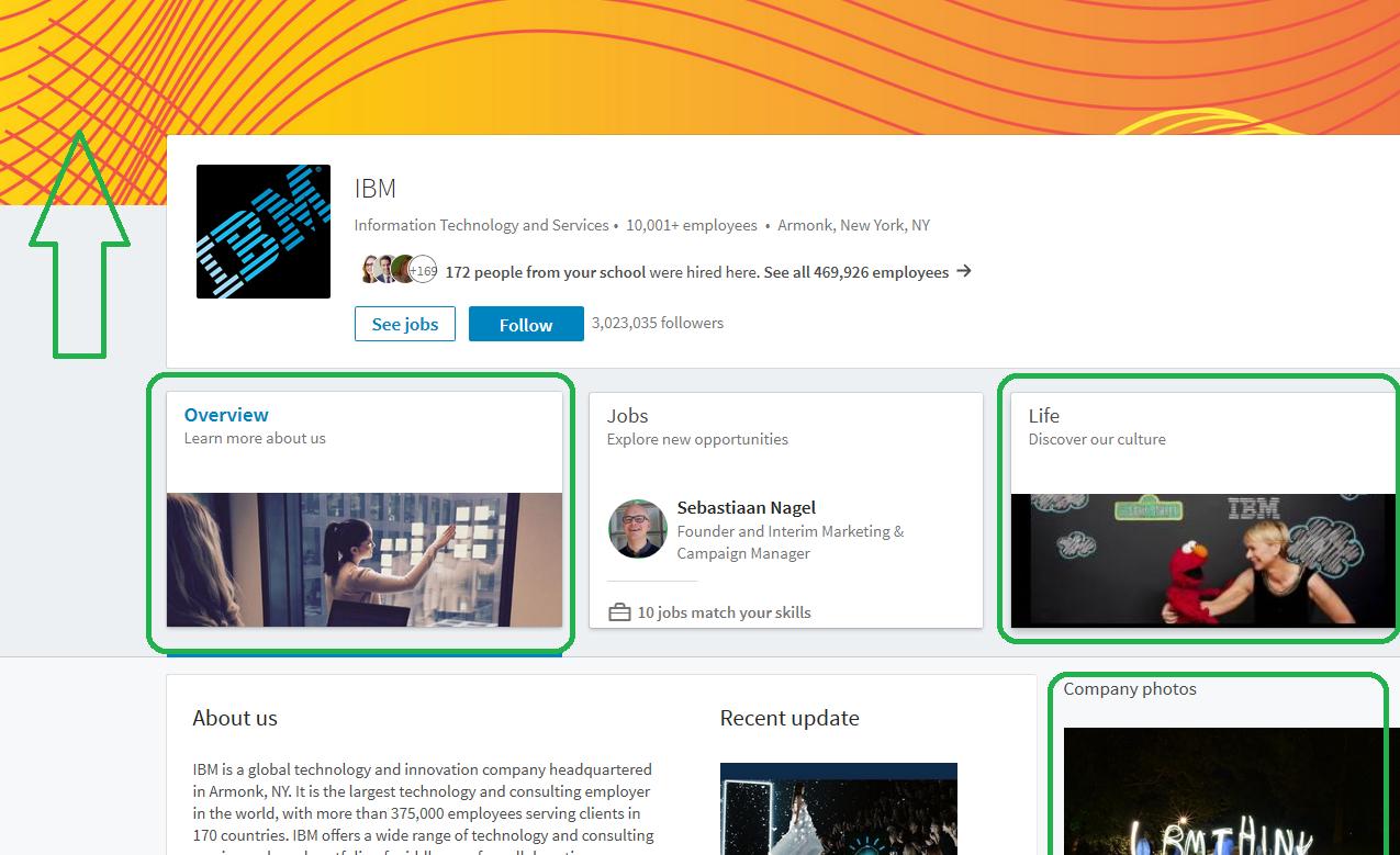 Nieuwe company page LinkedIn home