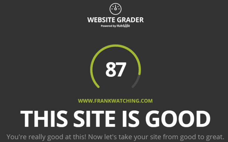 Website grader - your website is good - siteproject marketing van HubSpot
