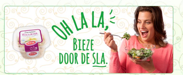 De slogan van Bieze: Oh la la, Bieze door de sla.