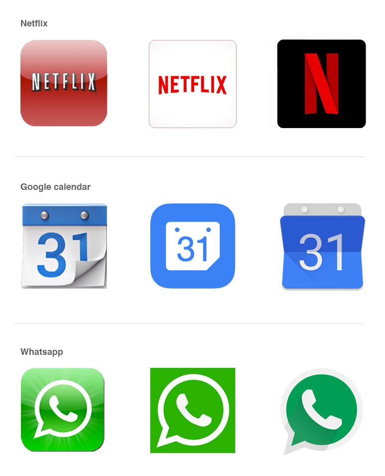 Van oud naar nieuw; app-icoontjes in 3D, als flat en als material 'meer versierd' design