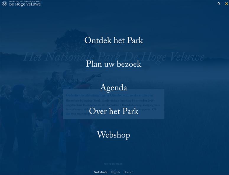 Park de Hoge Veluwe biedt het menu fullscreen aan