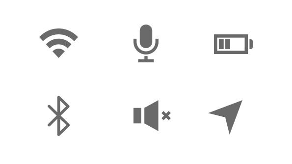 Ruimtebesparende 'mobiele' iconen die iedere gebruiker herkent
