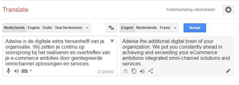 Google Translate heeft soms moeite met de vertaling