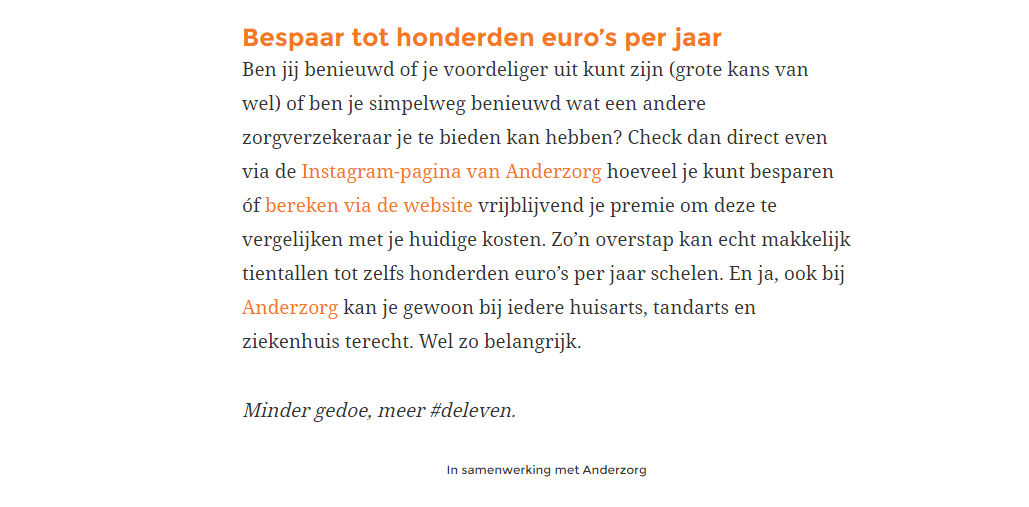 Backlinks zonder nofollow in advertorial