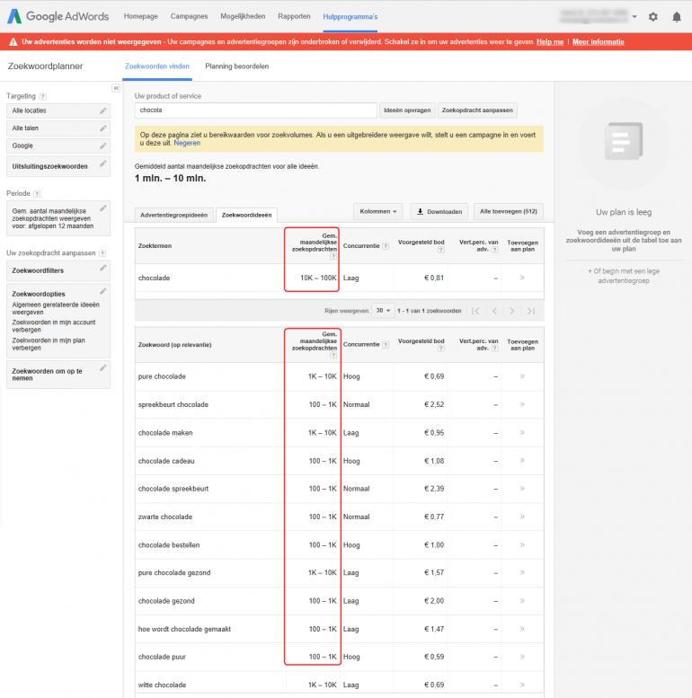 Adwords zoekwoordplanner met bereikswaarden ipv zoekvolumes