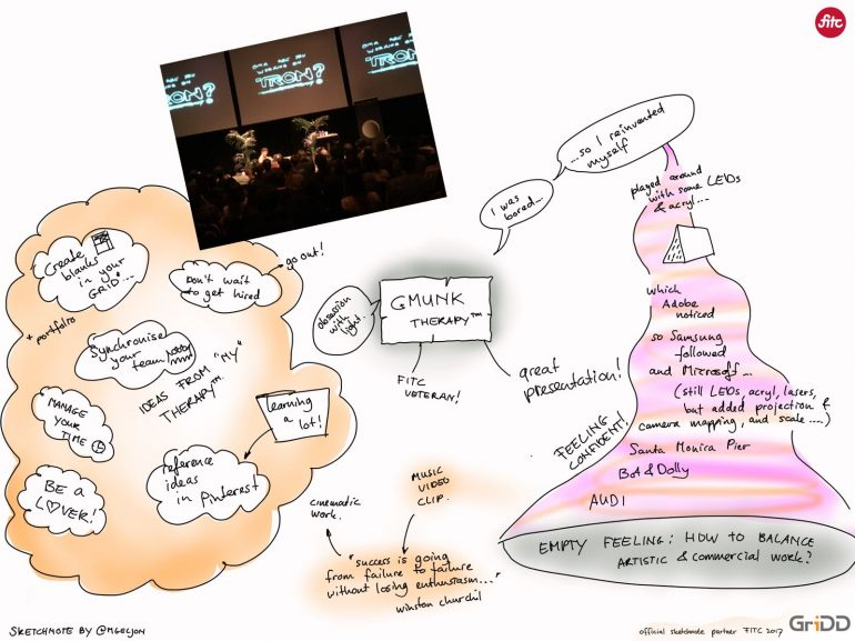 Talk Gmunk - FITC Amsterdam 2017 - Sketchnote door Mark Geljon (managing partner GriDD)