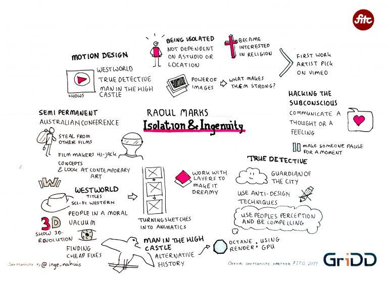 Talk Raoul Marks- FITC Amsterdam 2017 - Sketchnote door Inge Nahuis (consultant GriDD)