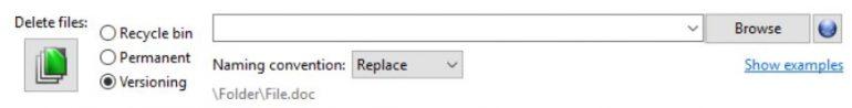 FreeFileSync versioning settings