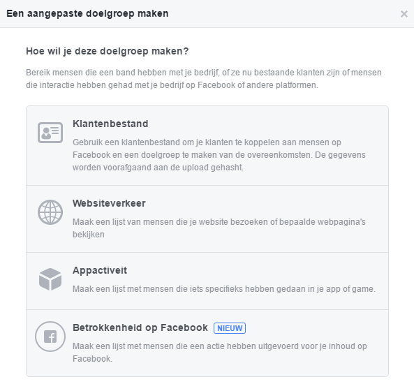 aangepaste doelgroep advertentie Facebook
