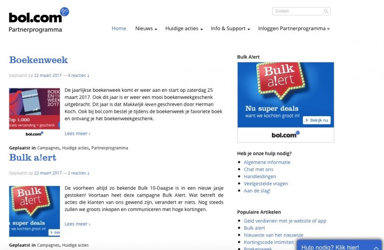 screenshot bol.com blog affiliate marketing