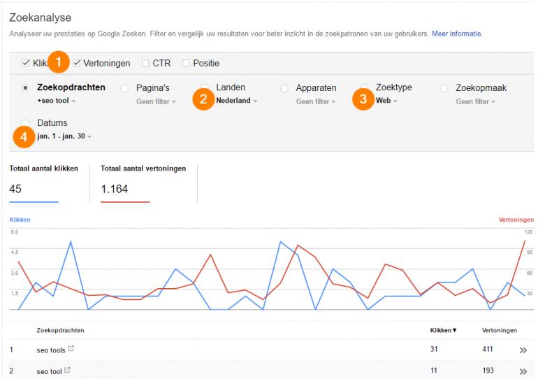 search console vertoond wel data instellingen stappen