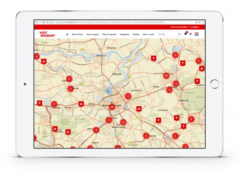 iPad met kaart van Brabant inclusief GPS bepaling