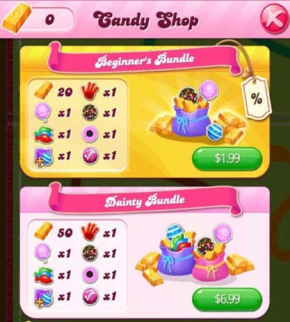 Candy crush in-app aankopen