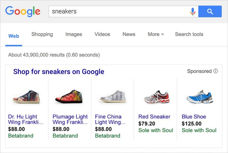 Google shopping sneakers