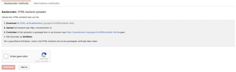 Google Search console property toevoegen