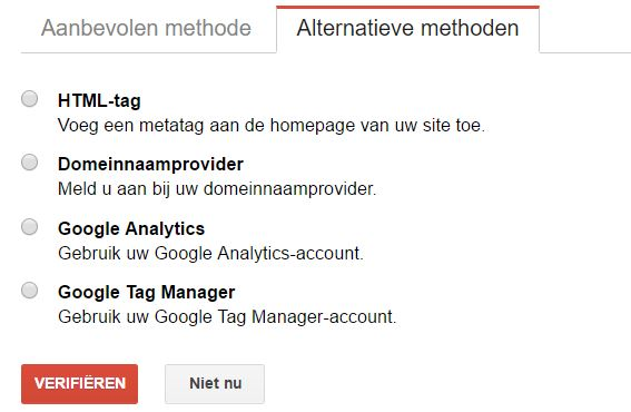 Google Search console property verifieren - alternatieve methoden