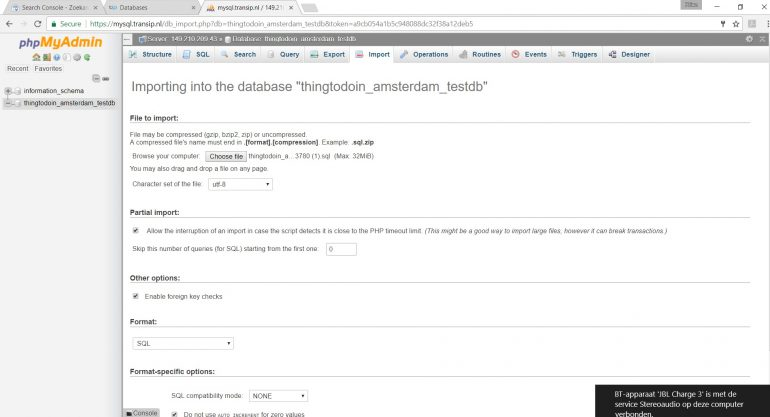 Importeren database phpMyAdmin