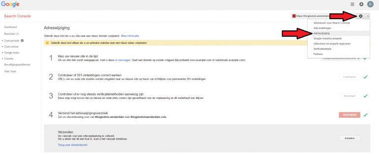Google Search Console adreswijziging doorgeven