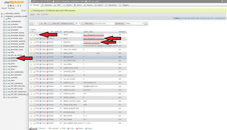 siteurl aanpassen in database