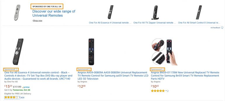 Advertenties op Amazon
