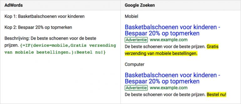 IF-functie Google AdWords