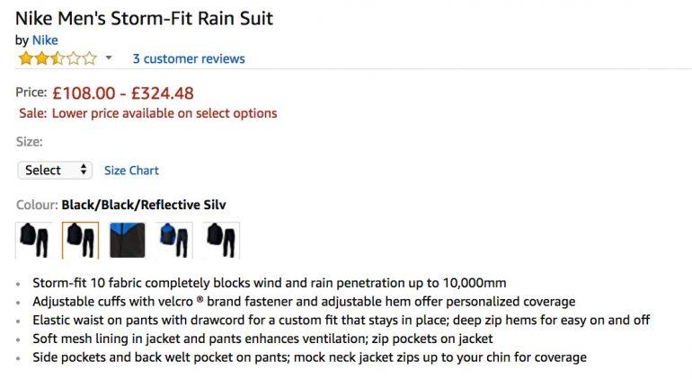 Producteigenschappen van Nike Men's Storm-Fit Rain Suit op Amazon